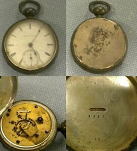 "1871 Elgin G.M. Wheeler 18s 11j Pocket Watch w/ Sterling Silver ""10"" Case"