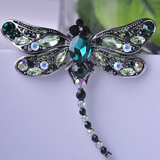STUNNING VINTAGE INSPIRED ANTIQUE SILVER LARGE STATEMENT DRAGONFLY GREEN  BROOCH