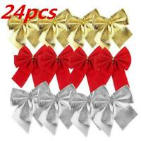 24Pcs Christmas Tree Bow Decoration Baubles XMAS Party Bows Red Gold Silver New