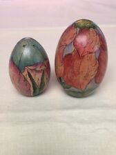 Hand Painted Wood Eggs Wildflowers Signed 1998. Lot Of 2 Very Nice!