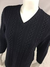 Lands End Womens Navy Cable Knit V-Neck Sweater EUC! Size 6/8
