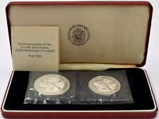 More details for silver proof coin 1974 iceland 500 and 1000 kronur 2 x coins set box + coa