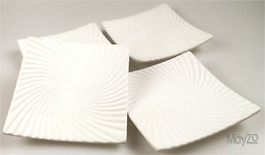 Four Square White Curved Dish Bowl Plate Set Modern Wavy  Ceramic Pottery  Fruit