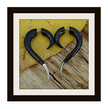Fake Gauge Organic Tribal Black Horn Earrings  Spiral Earring Cheater Expander