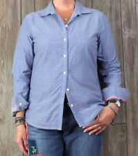Banana Republic Blouse L size Oxford Shirt Blue Tiny Anchor Womens Fitted Top