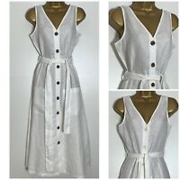 Next White 100%Linen Sleeveless Midi Dress Sizes 8 - 22  (n-86h)