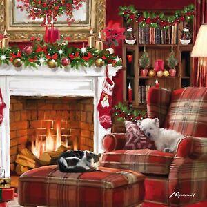 LUXURY CHARITY Christmas Cards   Dog & Cat Festive Fireside Scene    Pk 10