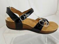 SAS Pampa Black Patent Leather Comfort Ankle Strap Sandals Women's Size 6.5 M