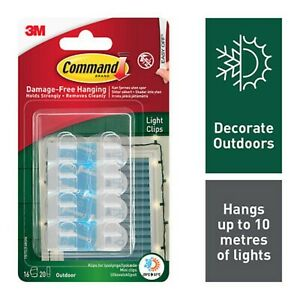 COMMAND Outdoor Decorating 16 HOOKS + 20 Sticky Strips LIGHTS CLIPS