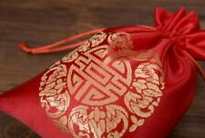 Silk purse, with embroidery, red and yellow