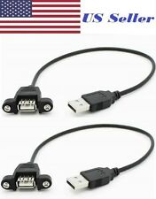 2 PCs USB 2.0 A Male to A Female Extension Cable 30cm With Screws Panel Mount