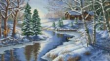 All Is Calm Cabin Near Stream In Snowy Woods Cross Stitch Kit Dimensions