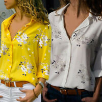 Women Casual V neck Chiffon Tops Autumn Long Sleeve Casual Blouse OL Shirt USA