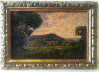 Original Oil on Panel Early 19th Century 'Gloucestershire Sunset' with Frame