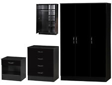 Modern Alpha Black Two Tone Bedroom Set 3 Door Standard Wardrobe Chest Bedside