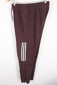 adidas Mens sz Medium Maroon Fleece Tapered Joggers Sweat Pants