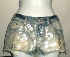 Victoria's Secret PINK CHEEKY Cut-Off Silver flower Distressed Shorts Blue 6 NWT