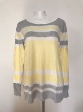 Gap Women L NWT Top Sweater Pullover Yellow Gray Round Neck $45