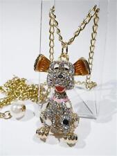 CUTE GOLD PLATED ARTICULATED DOG - ENAMEL & RHINESTONES - FREE UK P&P.....CG1995