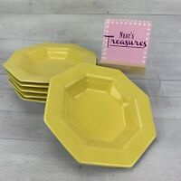 Independence Ironstone Interpace DAFFODIL YELLOW Octagon Rim Soup Bowls Set 6