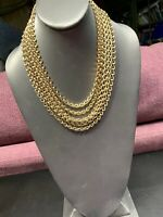 Vintage 1950S Gold Metal 6 Strand Heavy Chunky Chain Necklace Hook Clasp