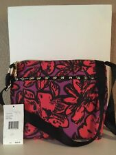 NEW Betsey Johnson Fuchsia/Purple Pop Flower Crossbody Handbag Studs Accent Medi