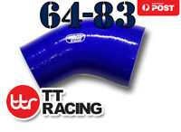 """Silicone 45 Degree Reducer Elbow Turbo Hose 64mm - 83mm 2.5""""- 3.25"""" Blue"""