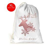Personalised XL Drawstring Christmas Sack/Stocking/Rose Gold Deer Girls Gift