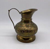 Vintage Etched Solid Brass Jug Pitcher Made In India