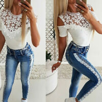 Women Cut Out Cold Shoulder Tops Lace Short Sleeve Casual Slim Blouse Tee W