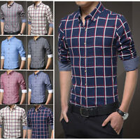 Mens Dress Shirts Long Sleeves Plaids Casual Slim Fit Business Multicolor Z6246