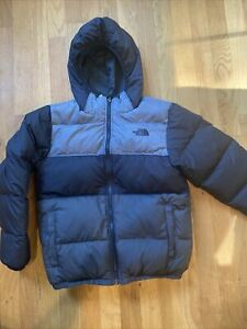 The North Face Boys Ski Jacket Black/grey Down Reversible Moondoggy Size M 10/12