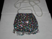 SEQUIN PURSE SMALL EVENING BAG W/FRINGE MULTI COLOR MATCHES ALL PROM FORMAL NEW