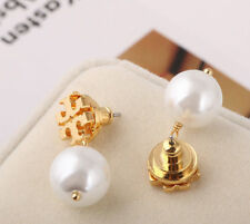 Tory Burch Evie Logo Pearl Drop Earrings New Gold