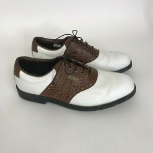 New Mens FootJoy DryJoys Golf Shoes Croc Saddle Leather 53415 White/Brown 10 M