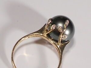 10mm Tahitian pearl ring, diamonds, solid 14k yellow gold. (SPECIAL OFFER)