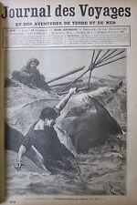 JOURNAL DES VOYAGES N° 658 de 1890 AEROSTAT DRAME AERIEN CHASSE en ASIE ARGALI