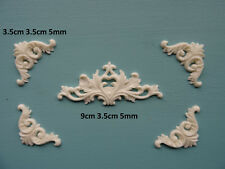 Decorative center and corners x 4 onlay applique resin furniture moulding 040A