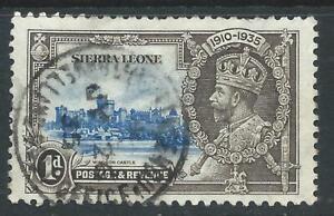 Sierra Leone 1935 Silver Jubilee 1d Blue/Black VFU Stamp