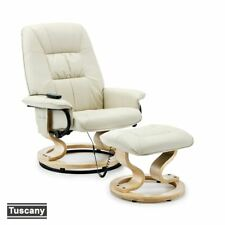 TUSCANY REAL LEATHER CREAM SWIVEL RECLINER MASSAGE CHAIR w FOOT STOOL ARMCHAIR