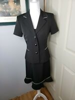 Vintage Alyn Paige 2 Piece Dress Suit Made In USA Size 7/8 Black White Piping
