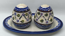 Boleslawiec Salt & Pepper Shaker Set w/ Tray White Blue Flowers