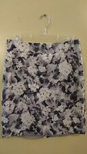 TALBOTS Black w/ White Flowers Floral Lined Pencil Skirt PETITE 6p