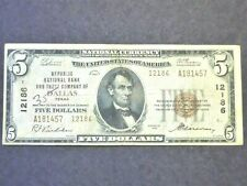 1929  $5  FEDERAL RESERVE BANK NOTE DALLAS, TEXAS SCARCE T2