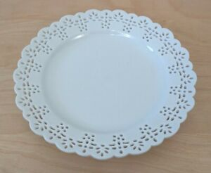 """Pier 1 Imports White Floral Eyelet Small Salad Plate 7.5"""""""