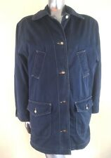 BHS Women's Cotton Jacket Navy Blue Wadding Quilted Lining Size 10