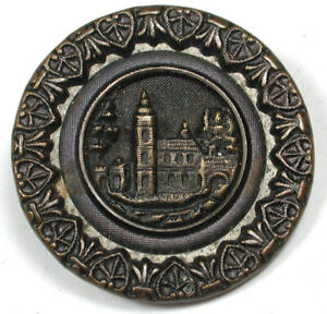 """Antique Brass Buttons Detailed Chateau design 1"""" 1890s"""