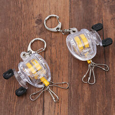 Fish Reel Keychain Key Ring With Retractable Steel Wire Belt Clip Lock Bucklef