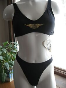 Harley Davidson Thong Bikini Set Black G String Swimsuit Swimwear Women Medium