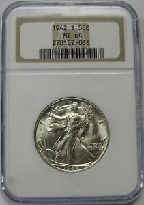1942-S Walking Liberty Half Dollar Grading NGC MS64 Premium Quality Frosty Coin